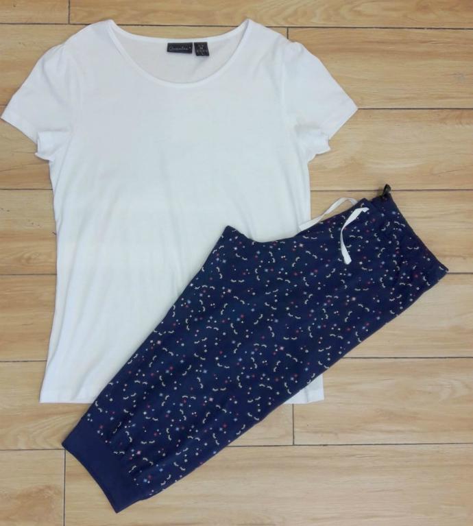 Ladies Pyjama Set (WHITE - NAVY) (SHOP) (M - L)
