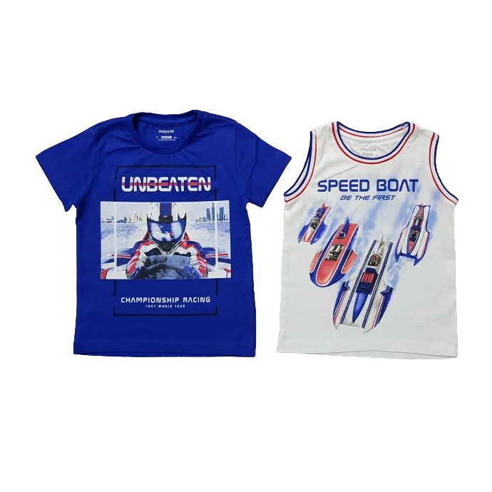 MAYORAL Boys 2 Pcs T-Shirt And Top Set ( WHITE - BLUE) (2 to 9 Years)