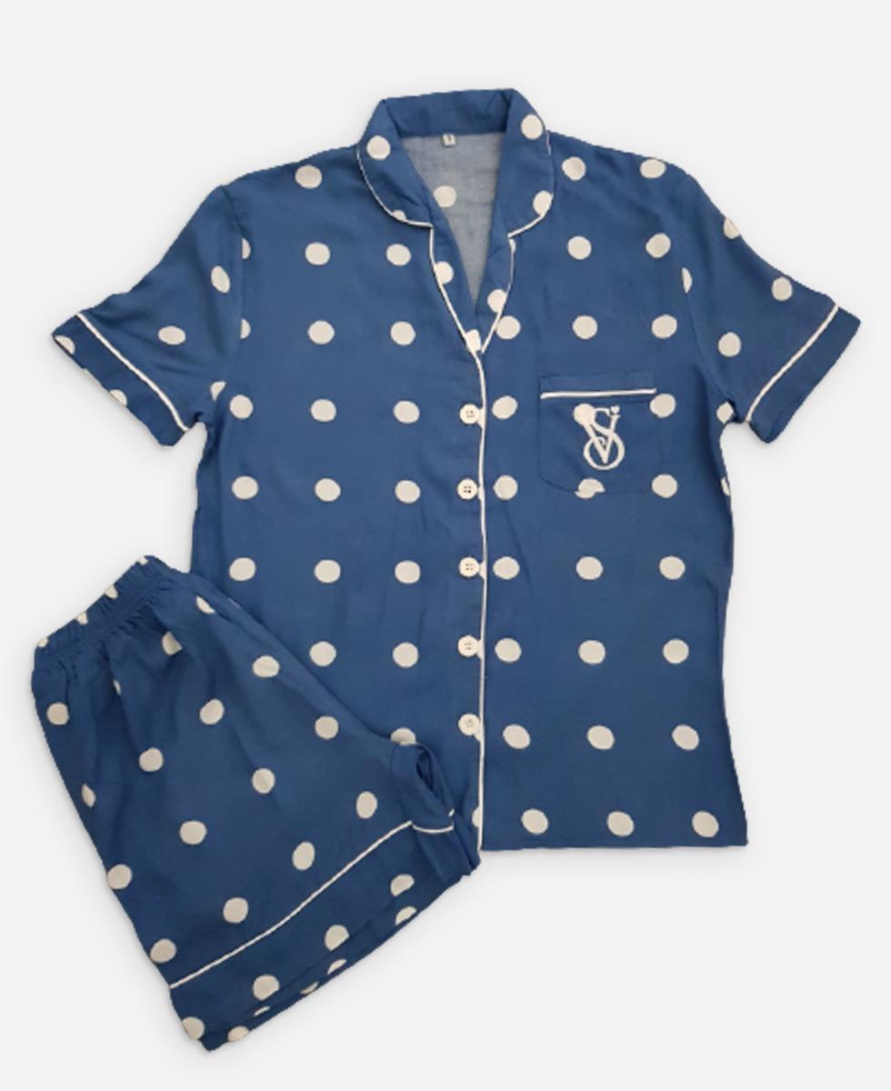 VICTORIA SECRET Ladies Turkey Sleepwear 2 Pcs Set (NAVY) (S - M - L - XL)