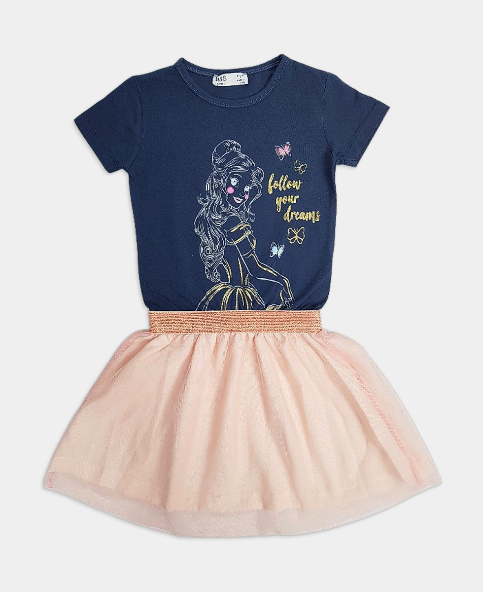 M AND S Girls Frocks (NAVY - PINK) (2 to 6 Years)