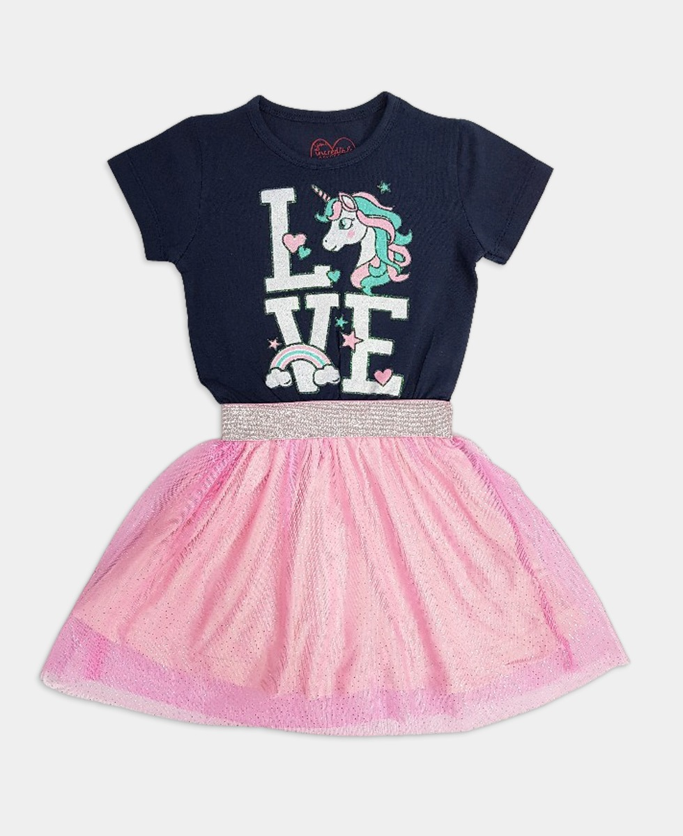 Girls Frocks (NAVY - PINK) (12 Months to 8 Years)
