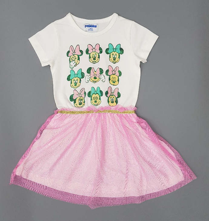 PEBBLES Girls Frocks (WHITE - PINK) (1 to 8 Years)