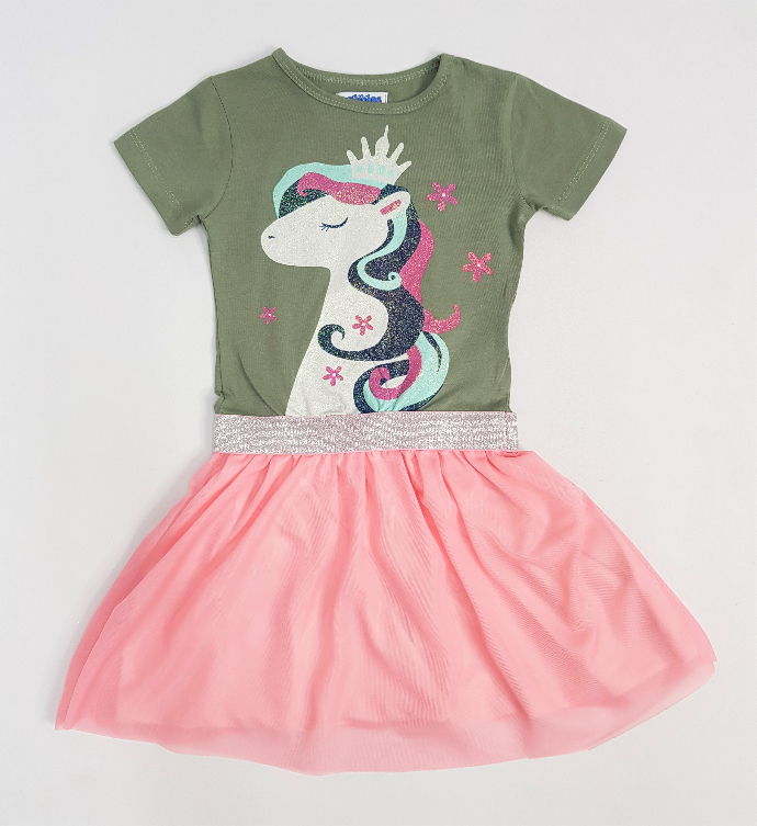 PEBBLES Girls Frocks (GREEN - PINK) (2 to 8 Years)