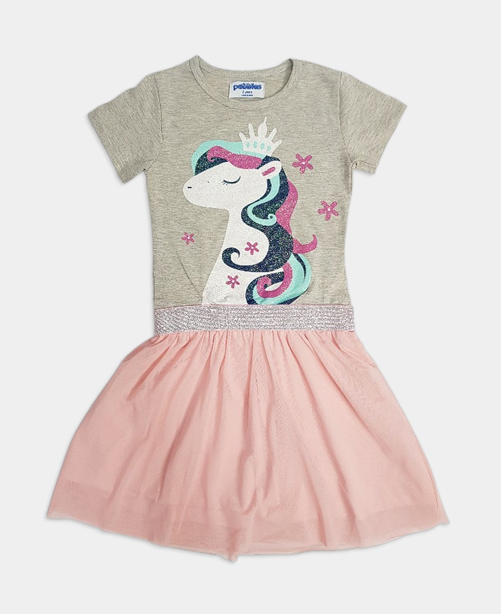 PEBBLES Girls Frock (KHAKI - PINK) (2 To 8 Years)
