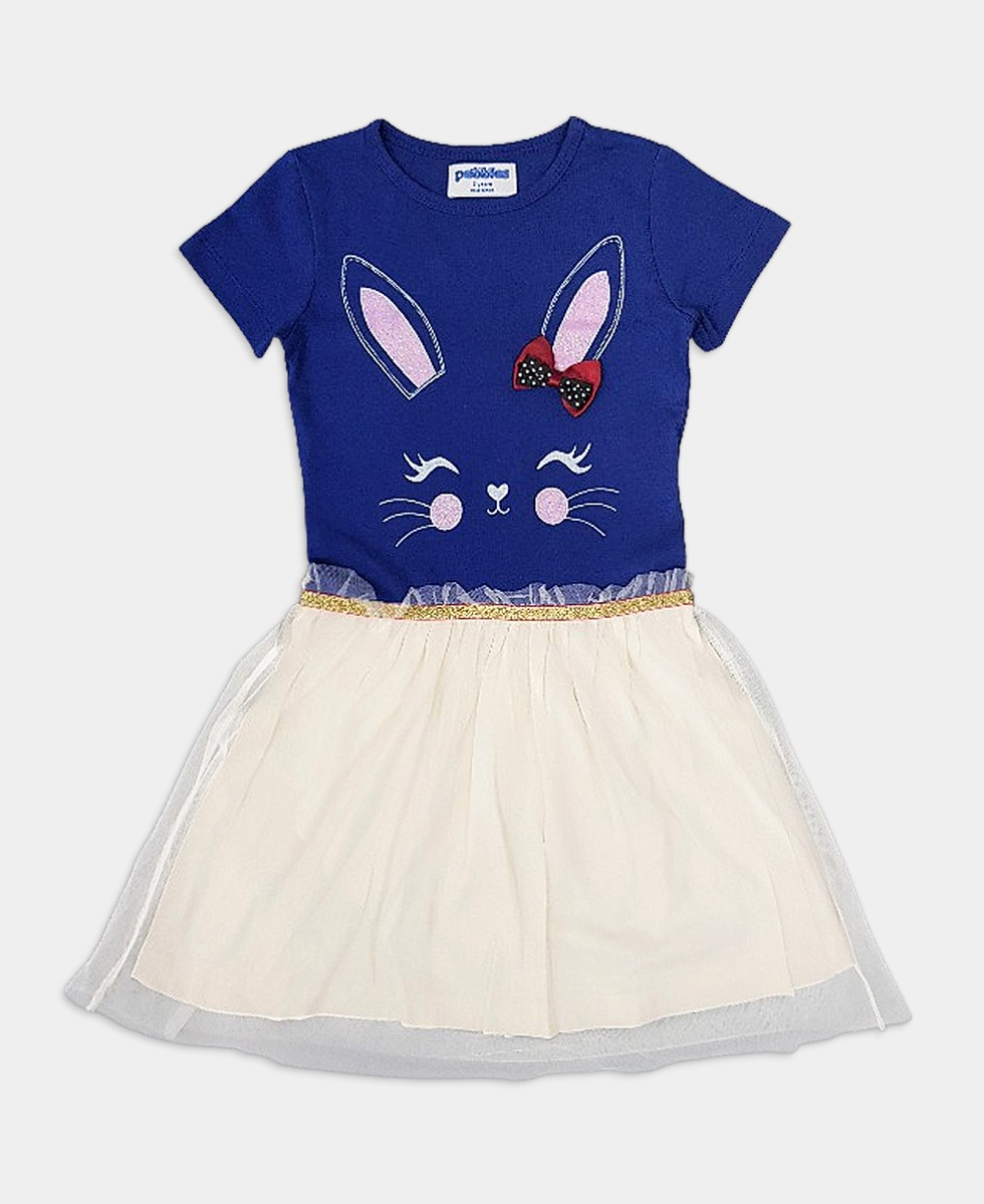 PEBBLES Girls Frocks (BLUE - WHITE) (2 to 8 Years)
