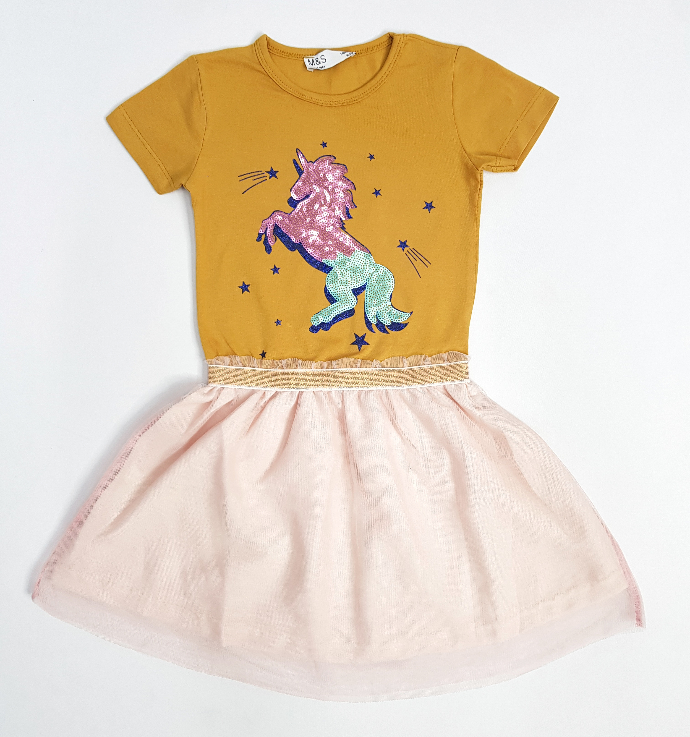 M AND S Girls Frock (YELLOW - PINK) (2 To 8 Years)
