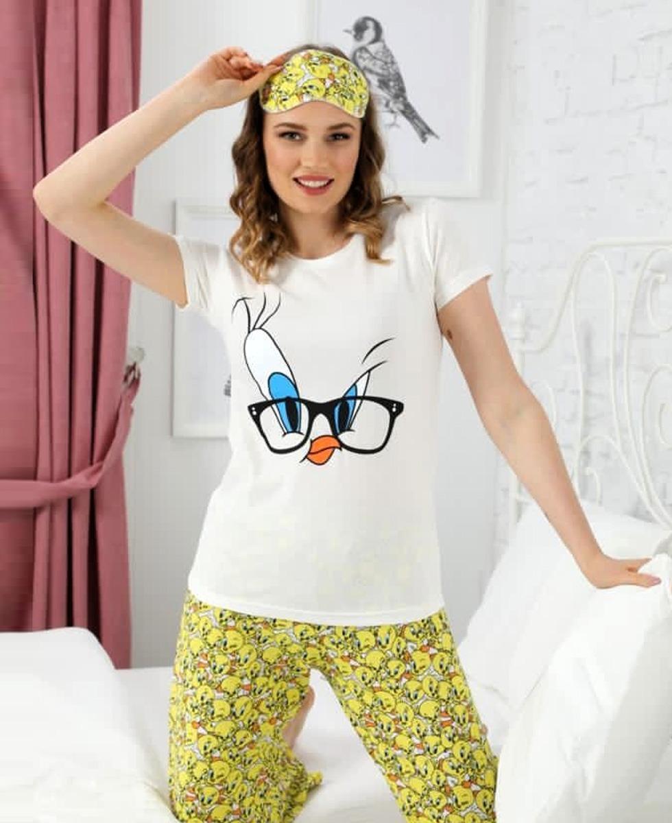 CLM Ladies Turkey 3 Pcs Pyjama Set (YELLOW- WHITE) (S - M - L - XL)