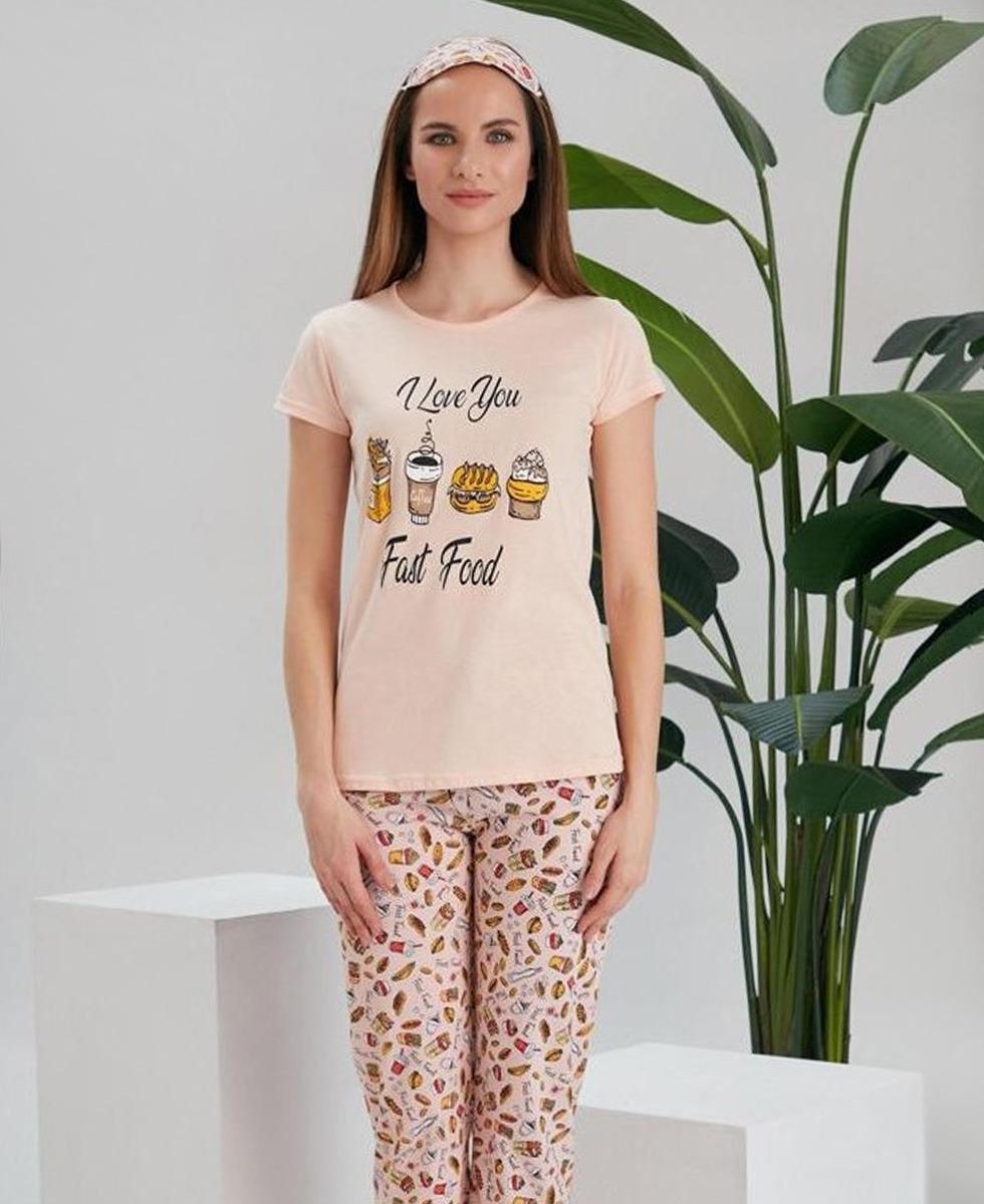 LOVE YOU Ladies Turkey 3 Pcs Pyjama Set (LIGHT PINK) (S - M - L - XL)