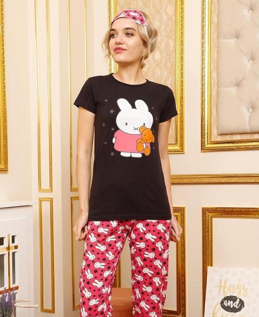 Ladies Turkey 3 Pcs Pyjama Set (PINK - BLACK) (S - M - L - XL)