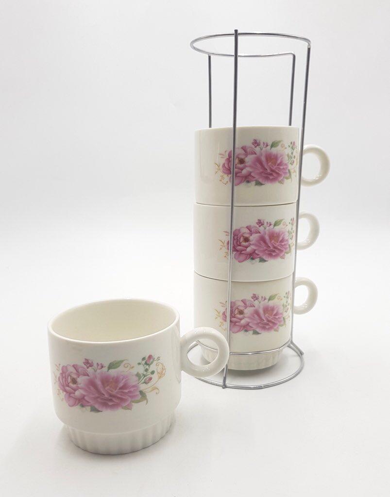 Stackable Coffee Tea Mug Set of 4 With Metal Stand