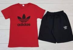 ADIDAS Ladies T-Shirt And Pants Set (RED - BLACK) (MD) (M - L - XL - XXL) (Made in Turkey)