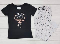PRIMARK Ladies Pyjama Set (BLACK - GRAY) (LP) (XXS - XS - S - M - L - XL - XXL )