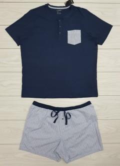 LIVERGY Mens Pyjama Set (NAVY- LIGHT BLUE) (XXL)