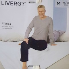 LIVERGY Mens Pyjama Set (GRAY- NAVY) (M - L - XL)