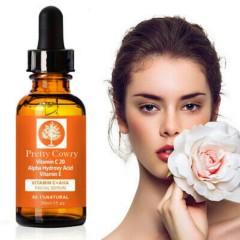 PRETTY COWRY Natural Facial Serum Hyaluronic Acid Anti-aging Vitamin C & E 30ml (MOS)