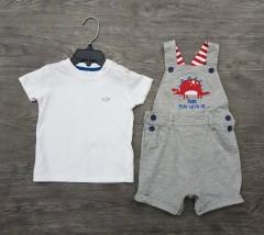LC WAIKIKI Boys 2 Pcs T-Shirt + Romper Sport Set (WHITE - LIGHT GRAY) (9 to 12 Months)