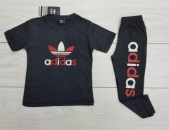 ADIDAS Boys 2 Pcs T-Shirt + Pants Sport Set (BLACK) (2 to 12 Years)