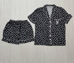VICTORIA SECRET Ladies Turkey 2 Pcs Sleepwear Set (BLACK - WHITE) (S - M - L - XL)