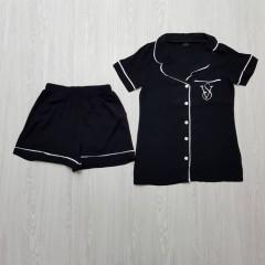 VICTORIA SECRET Ladies Turkey 2 Pcs Sleepwear Set (BLACK) (S - M - L - XL)