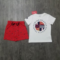 MAYORAL Boys 2 Pcs Shorty Set (WHITE - RED) (2 to 9 Years)