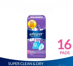 Whisper Super Whisper Super Clean & Dry Sanitary Napkin with Wings (16 pads) (mos)