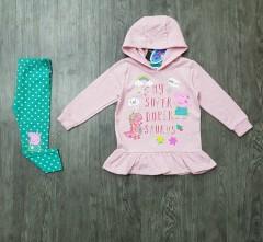 PEPPAPIG Girls 2 Pcs Hoodie Dress & pant (PINK - BLUE) (1 to 5 Years)