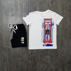 MAYORAL Boys 2 Pcs T-Shirt Shorty Set ( WHITE - BLACK) (2 to 9 Years)