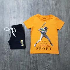 MAYORAL Boys 2 Pcs T-Shirt & Shorty Set ( ORANGE - BLACK) ( 2 to 5 Years)