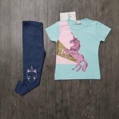 M&S Girls 2 Pcs Pyjama Set (LIGHT BLUE - NAVY) (2 to 8 Years)