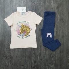 M&S Girls 2 Pcs Pyjama Set (PINK - NAVY) (2 to 8 Years)