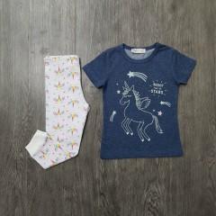 M&S Girls 2 Pcs Pyjama Set (NAVY - WHITE) (2 to 8 Years)