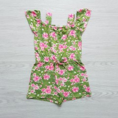 FOREVER ME Girls Romper (GREEN - PINK) (2 to 4 Years)