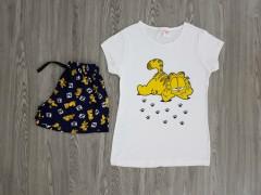 LCN PIJAMA Ladies 2 Pcs T-Shirt And Shorty Set ( WHITE - BLACK ) ( S - M - L - XL )