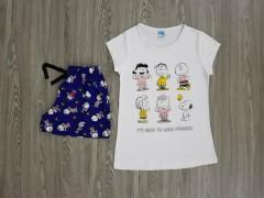 LCN PIJAMA Ladies 2 Pcs T-Shirt And Shorts Set (WHITE - BLUE) (S - M - L - XL)