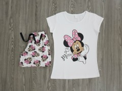 NORMAL Ladies 2 Pcs T-Shirt And Shorty Set ( WHITE - PINK) ( S - M - L - XL )