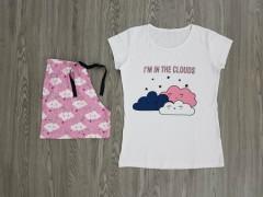 NORMAL Ladies 2 Pcs T-Shirt And Shorty Set ( WHITE - LIGHT PURPLE) ( S - M - L - XL )