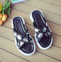 Ladies Sandals Shoes (BLACK - SILVER) (36 to 41)