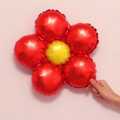 Balloon With Flower Design (RED) ( 33×33 )