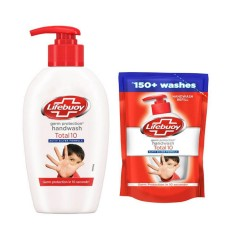 Lifebuoy Total 10 Germ Protection Handwash 190 ml With Refill Pouch 185 ml Free (mos)