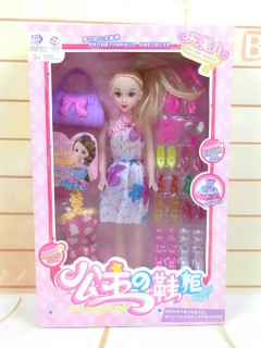 Barbie girl Doll Toy With Doll Dresses set for kids (WHITE) (21×5×32.5 CM)