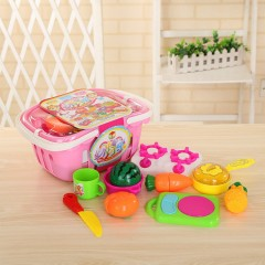 Kitchen Cutting Play-Set Includes Vegetables, Fruits (PINK) (ONE SIZE)