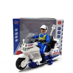 Motorcycle Toy City Action Police Bike Kids Electric Car with LED Light Music Kids (WHITE-BLUE) (21.5×8×16 CM)