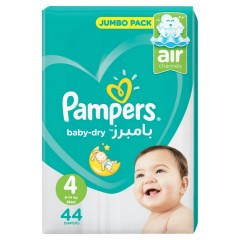PAMPERS Baby-Dry Diapers Jumbo Pack, 44 Diapers  (Size 4- Maxi- 9-14kg)  (MOS)