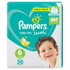 PAMPERS Baby-Dry Diapers Mega Pack 36DP (Size 6, Extra Large-13+ kg) (Exp: 05.2023) (MOS)