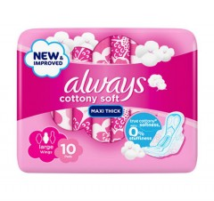 ALWAYS Cottony Soft Maxi Thick Large Sanitary Pads with (10 Wings ) (MOS)