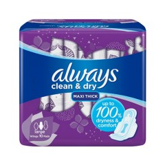 ALWAYS Clean & Dry Maxi Thick Large Sanitary Pads (10pcs) (MOS)