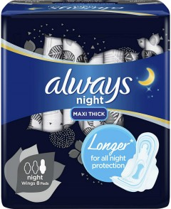 ALWAYS Night Maxi Thick Sanitary Pads with Wings (8 Pads) (MOS)