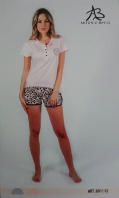 ANTONIO BASILE Ladies 2Pcs Shorty Nightwear Set (PINK - WHITE) (S - M - L - XL)