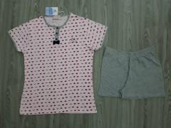 ANTONIO BASILE Ladies 2Pcs Shorty Nightwear Set (GRAY-PINK) (S - M - L - XL)