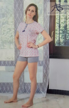 ANTONIO BASILE Ladies 2Pcs Shorty Nightwear Set (LIGHT PINK - GRAY) (S - M - L - XL)